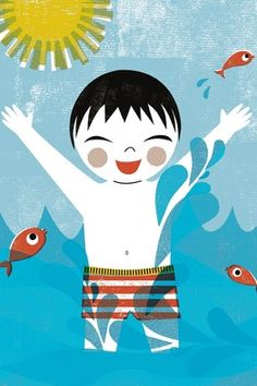 Playing in the tub, playing the surf: Illustrations by Sara Gillingham from 'Now I Am Big!'