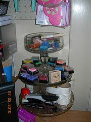 Stacked cake stands to store tools, inks and chalks.