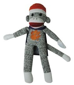 "New NCAA Clemson University Tigers Spirit Flying Sock Monkey 13"" Makes Sound"