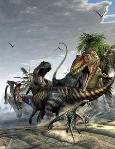 Giganotosaurus And Parasaurolophus by Kurt Miller