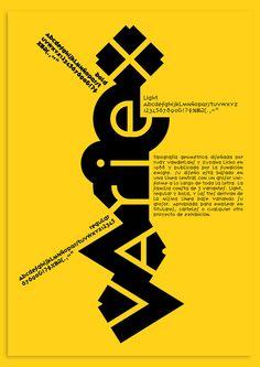Rudy Vanderlans et Zuzana Licko – Affiche pour le caractère typographique Variex (1988) publié par Emigre Foundry.