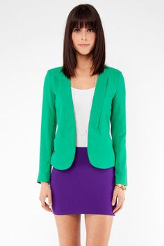 would love this for work...with a longer skirt of course.   Gatsby Blazer in Green $42 at www.tobi.com