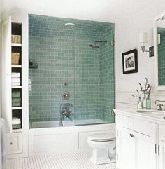 small country french bathroom with tub and shower - Google Search