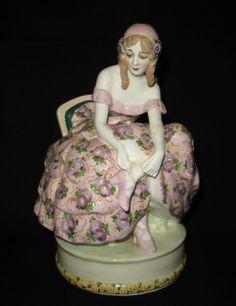 Goldscheider Wien Jugendstil Art Deco Keramik- Figur Tänzerin Josef Lorenzl (D)