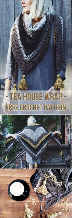 Tea House Wrap - [Free Crochet Pattern] Adorable crochet wrap #crochet #fashion #crochetlove #freepattern