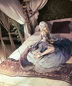 Anime girl silver or white hair - arabian clothes