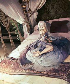 Anime girl silver or white hair - arabian clothes