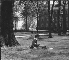 Student sketching on College Green, early 1950s :: Ohio University Archives