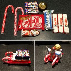 Candy Cane sleighs made with chocolate and sweets available in the UK.