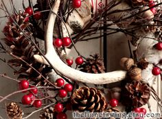 Solstice Antler Wreath - Holiday Wreath - Christmas Wreath - Antler - Winter Wreath by TheLinnetsWing on Etsy https://www.etsy.com/listing/169988075/solstice-antler-wreath-holiday-wreath