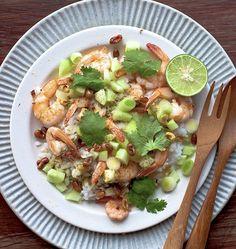 Prawn, lime, cilantro & coconut rice salad.  DELICIOUS!