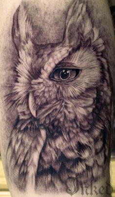 Crazy Good Black & Gray Owl Tattoo by Pepper Spice #InkedMagazine