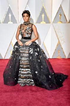 Singer and actress Janelle Monae in ELIE SAAB Haute Couture at the 89th Annual Academy Awards in Hollywood.