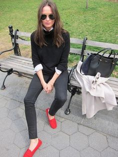 20 Looks with TODs loafers glamhere.com Red Loafers