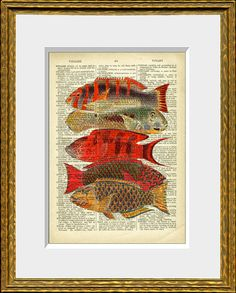 TROPICAL FISH COLLAGE dictionary page art print - upcycled antique dictionary…