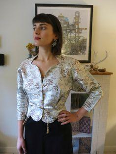 S, M 50 s Jacke satin Stickerei, Porträt Kragen, Pompei Taille, Urlaub Kleidung aus China
