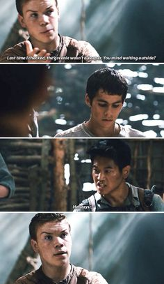 Gally (Will Poulter), Minho (Ki Hong Lee), and Thomas (Dylan O'Brien) in a The Maze Runner deleted scene