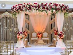 Gorgeous floral mandap in Cinnaminson, NJ Fusion Indian Wedding by House of Talent Studios Wedding Hall Decorations, Marriage Decoration, Engagement Decorations, Mandap Design, Wedding Mandap, Indian Wedding Photography, Event Photography, Home Wedding, Table Wedding