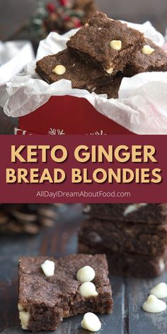 Chewy keto blondies with a kick of ginger and studded with sugar-free chocolate chips. An easy and delicious keto holiday dessert recipe. Sugar Free Desserts, Low Carb Desserts, Gluten Free Desserts, Healthy Desserts, Fun Baking Recipes, Free Recipes, Keto Recipes, Dessert Recipes, Keto Holiday