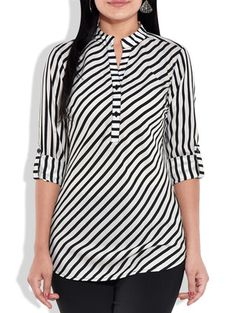 Monochromatic striped poly georgette top - Online Shopping for Tunics
