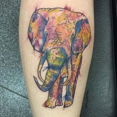 Cool Watercolor Tattoo Ideas For Guys - Elephant on Arm
