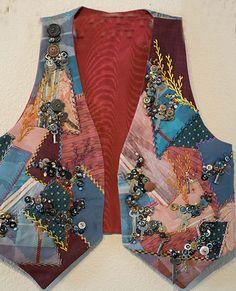 patchwork vests and jackets Crazy Quilt Tutorials, Hand Quilting, Crazy Quilting, Patchwork Tutorial, Crazy Quilt Blocks, Quilt Patterns Free, Quilting Templates, Block Patterns, Quilting Ideas