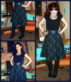 Craft, Thrift, or Die: I Like Plaid Now: part 1 green and navy blue vintage skirt