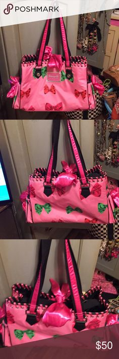 Betseyville A-FRICKING-DORABLE bag😆 11 x 17 x 6 Bubblegum pink baby bag.  I used it as a work tote and it got noticed by everyone.  I took excellent care of it.  Only a couple scuffs on the bag.  Inside is immaculate.  I'm extremely neat on the inside of my bags. ( I put everything in little pouches so nothing roams freely )  comes with a matching thermal bottle holder😬 Betsey Johnson Bags