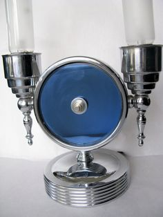 Vintage art deco chrome and blue mirror lamp