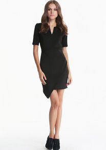http://iloveparfum.altervista.org/?p=1346 #Black V Neck #Short #Sleeve Asymmetrical #Bodycon #Dress #Sheinside