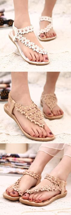 [Visit to Buy] Women shoes high quality flower sandals comfort beading women sandals 2017 fashion women summer shoes  #Advertisement