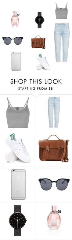 """Monday"" by julietoft on Polyvore featuring Topshop, M.i.h Jeans, adidas, The Cambridge Satchel Company, Native Union, Quay, I Love Ugly and Viktor & Rolf"