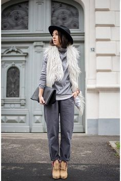 13 Ways to Wear Head-to-Toe Gray This Winter. Laura, shot in Romania for Living in a Shoe, via Chictopia