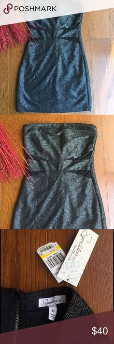 🥂Strapless Party Dress🥂 by Speechless NWT This is a strapless dress with black and silver through out really cute sexy cut outs in front with mesh. Purchased at Macy's, fully lined. Exposed zipper silver. 100% polyester machine washable. Some give... Speechless Dresses Strapless