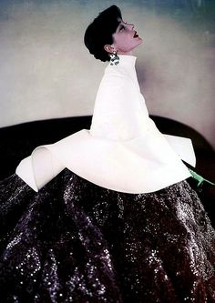 Bettina wearing Givenchy for Vogue, 1952.  Photo by Milton Greene.