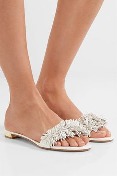 Aquazzura - Wild Thing Fringed Leather Slides - White - IT41