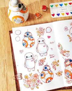 Baymax doodle is ready to brighten your day and make your journal cuter than ever! Have you ever made doodle based on cartoon… Bullet Journal Junkies, Bullet Journal Themes, Bullet Journal Spread, Bullet Journal Layout, Bullet Journal Inspiration, Bullet Journals, Journal Ideas, Drawing Stars, Sketchbook Cover