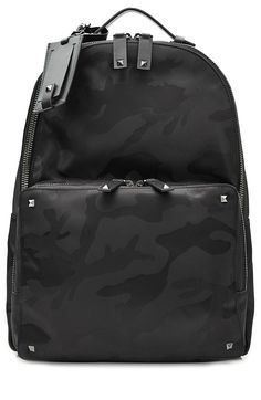 VALENTINO Camouflage Printed Backpack with Rockstuds. #valentino #bags #leather #lining #backpacks #