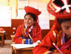 School children wearing traditional peruvian costume, at school.