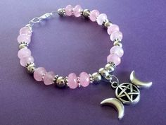 Goddess Bracelet Wiccan Bracelet Gemstone by MoonMajickStudio