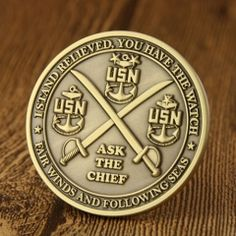 Die struck challenge coins, polished with antique finish. Challenge Coins For Sale, Military Challenge Coins, Sale Logo, Customized Gifts, Personalized Items, Custom Coins, Free Artwork, Military Branches, Metal Pins