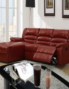 red leather sectional sofa with recliner