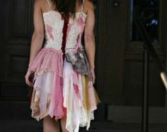 upcycled clothing . romantic tattered dress . unchain my heart