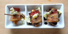 bacon wrapped dates with almonds and blue cheese