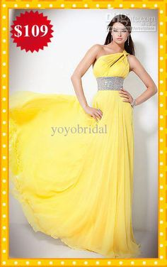 Wholesale Custom Hot Sale Yellow One shoulder Rhinestones Chiffon Long Prom Evening Dresses Formal Gown Dress, Free shipping, $89.6-104.16/Piece | DHgate