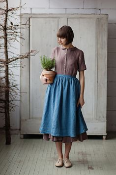 Scandinavian Style in Clothes by Son de Flor, фото № 2 Modest Fashion, Fashion Outfits, Vintage Outfits, Vintage Fashion, Linen Apron, Apron Dress, Mori Girl, Linen Dresses, Contemporary Fashion