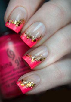Roze met gouden glitters