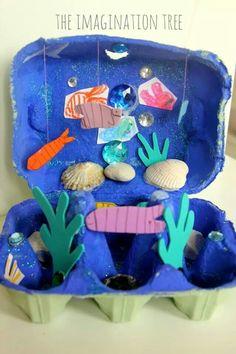 Egg Carton Ocean Craft - The Imagination Tree Art For Kids, Crafts For Kids, Arts And Crafts, Craft Activities, Preschool Crafts, Ocean Activities, Spanish Activities, Summer Activities, Family Activities