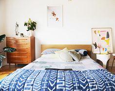 Bedroom: Batik bedding and abstract art