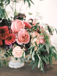 Rose flowers: Floral Design: ADORNMENTS flowers + finery - http://www.stylemepretty.com/portfolio/adornments Photography: Ashley Ludaescher Photography - ashleyludaescher.com Read More on SMP: http://www.stylemepretty.com/california-weddings/2017/02/24/intimate-wedding-with-views-of-the-pacific-ocean/